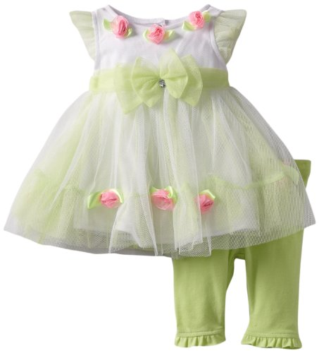 Nannette Baby-girls Newborn 2 Piece Newborn Knit Dress and Knit Pant Set, Green, 0-3 Months