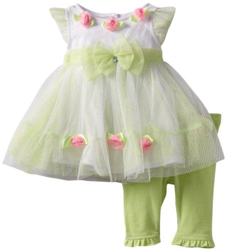Nannette Baby-girls Newborn 2 Piece Newborn Knit Dress and Knit Pant Set, Green, 0-3 Months
