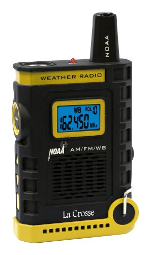 La Crosse 810-805 NOAA/AM/FM Weather RED Alert Super Sport Radio with flashlight, USA-made IC chip for High Quality Digital reception, rubberized black finish, earphone jack and hands-free included lanyard