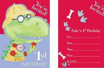 Dinomite 1st Birthday Invitations (8 count) - 1