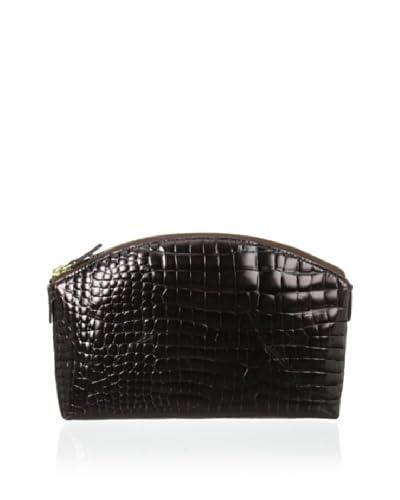 AEON Women's Medium Cosmetic Case, Brown Metallic Croc