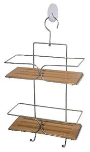 Bambou / Chrome - 26 x 11 x 40 cm - 2 etages - etagere de salle de bain - etagere murale avec porte-crochet de serviette de douche, shampooing, etc