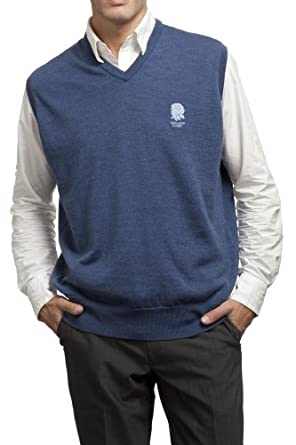 Mens England Rugby 100% Merino Wool Plain V Neck Slipover with Rose Embroidery by England R.U.