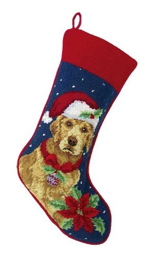 Golden Retriever Needlepoint Dog Christmas Stocking