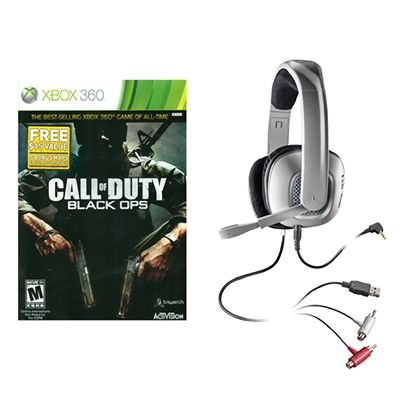 Call Of Duty Black Ops And X40 Plantronics Stereo Gaming Headset For Xbox 360
