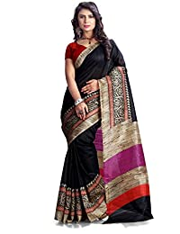 AG Lifestyle Bhagalpuri Silk Black Colour Saree And Geomatric Design & Strips Print Pallu With Red Colour Geomatric Print Blouse AGB11037