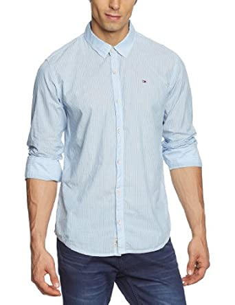 Hilfiger denim - ally - chemise casual - coupe régulière - coton - homme - bleu (antique white pt/multi) - X-Small