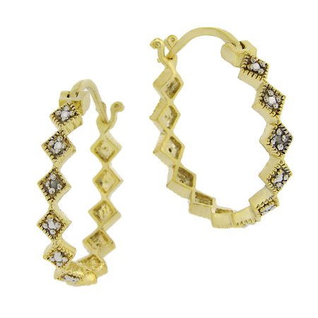 18k Gold over Sterling Silver Diamond Accented Geometric Hoop Earrings