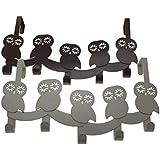 Owls - Over the Door 5 Hook Organizer Hanger Rack By Comfify, Steel Metal (Misty Grey)