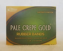 Alliance Pale Crepe Gold Size #14 (2 x 1/16 Inches) Premium Rubber Band , 1/4 Pound Box (Approximately 845 Bands per Box) (20149)
