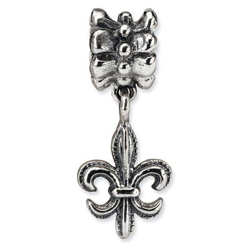 .925 Sterling Silver Fluer di Lis Dangle Bead