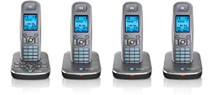 BT Sonus 1500 Quad Digital Cordless Phone with Answering Machine - Gun Metal /Silver