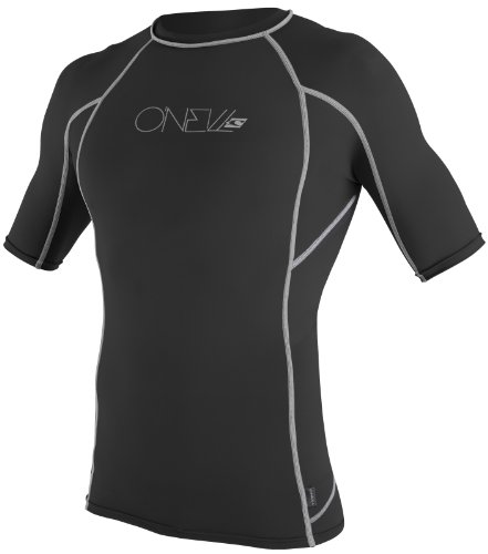 ONeill Wetsuits Basic Skins Short Sleeve Crew Black with Gray Sripes - Medium (Wet Shirt compare prices)