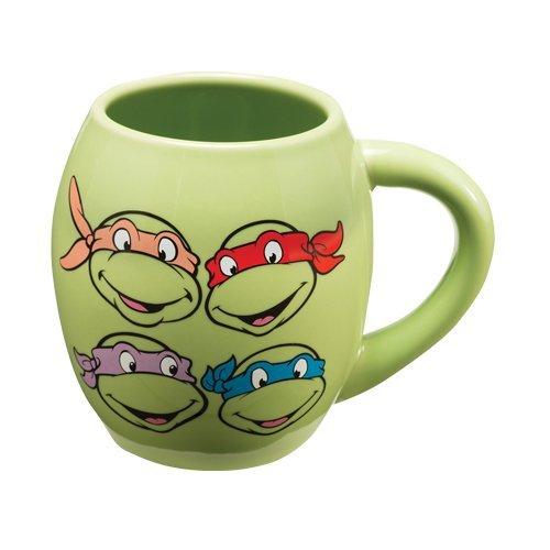 Vandor 38062 Teenage Mutant Ninja Turtles 18 oz Oval Ceramic Mug, Green, Red, Purple, and Orange (Ninja Turtles Glasses compare prices)