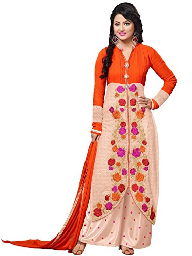 Orange & Peach Georgette Party & Wedding Wear Thread Embroidery Plazo Salwar Suits