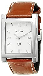 Sonata Analog White Dial Mens Watch - NF7925SL03A