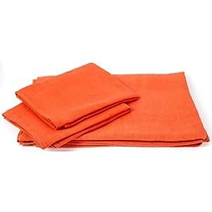 Juego de toalla de baño de lino en color mandarina modelo Lara