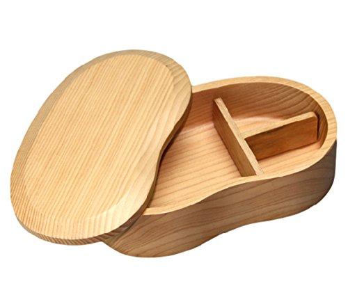 (リッチェ) Ricce 天然 木製 くりぬき そらまめ弁当箱 おかず仕切り ランチバンド 3点 セット お弁当箱 弁当箱 軽量 女性 男子 子供用 (白木, 1段)