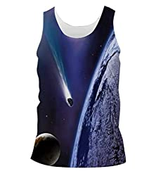Snoogg Space Trip Mens Casual Beach Fitness Vests Tank Tops Sleeveless T shirts