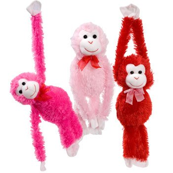 Plush Hanging Valentine's Monkeys, 17¼ In. - 1/ea. - Choose Your Color! - 1