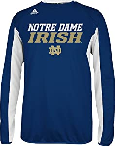 Notre Dame Fighting Irish Climawarm Team Name Blue Sideline Crew by Adidas by GametimeUSA
