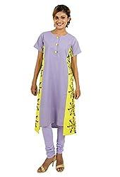 Kandida Dandiya Warli Print Short Sleeves Purple Cotton Kurta