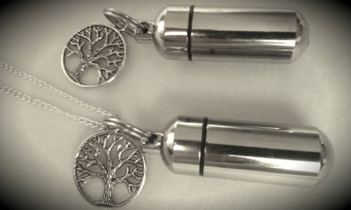 Wonderful Tree Of Life 2pc. Special Set - Cremation Urn Necklace & Keychain Urn - Includes Velvet Pouch & Fill Kit