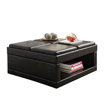 Homelegance 4732pu castered cocktail ottoman table dark brown faux leather Dark brown leather ottoman coffee table