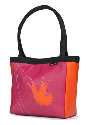 Holly Aiken Bird Coupe Small Tote, Raspberry/Orange
