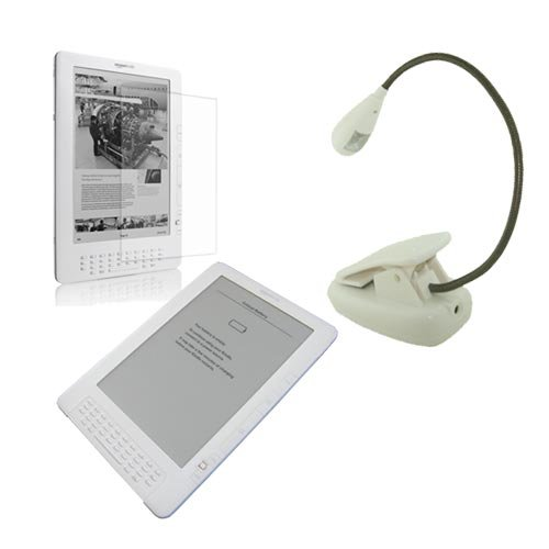 3 Accessory for Amazon Kindle DX(Clear Silicone Skin Case and Screen Protector + White E-book Reader Light)