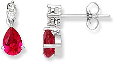 Miore 9 ct White Gold 0.08 ct Diamond with Created Ruby Earrings