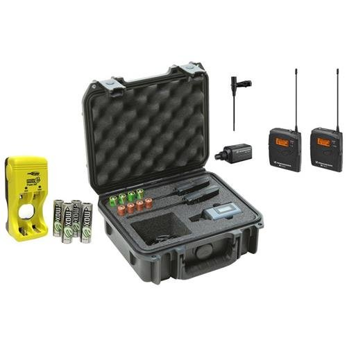 Sennheiser ew 100-ENG G3-A Wireless Microphone System with EK 100 G3 Diversity Receiver - Frequency Band A - Bundle with 4 x AA Ni-Mh Rechargeable Batteries with Charger, SKB iSeries Military Standard Waterproof Sennheiser Mic Case