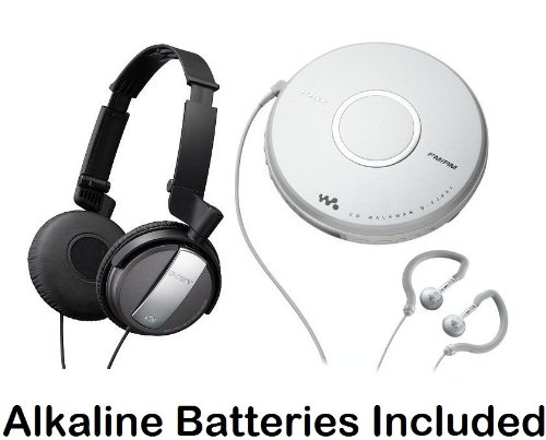 Sony Walkman Portable Skip-Free Cd Player & Am Fm Radio With Earbud Headphones, 30 Preset Stations, Digital Mega Bass Sound & Avls + Sony Lightweight Noise Canceling Studio Monitor Headphones With 30Mm Swivel Earcups & Over The Head Open-Air Dynamic Close