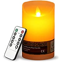 Led Flameless Candles, Mospro Flameless Pillar Candle Set 5 Inches Length Ivory Wax Remote Control & Timer, Flickering...
