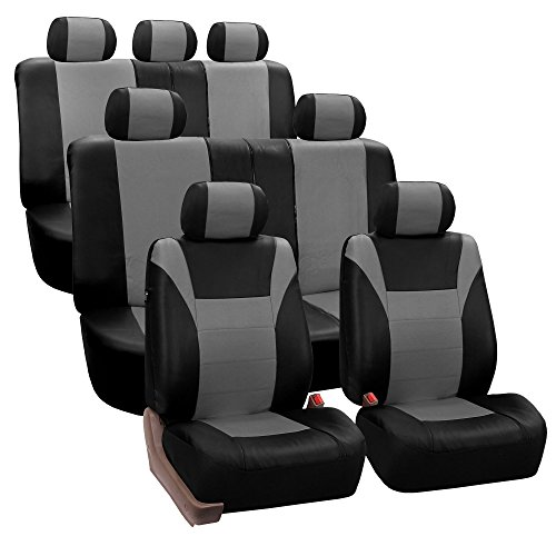 FH-PU003128 Racing PU Leather Three Row Set Car Seat Covers, Airbag Ready and Split, Gray / Black Color- Fit Most Car, Truck, Suv, or Van (Leather Racing Seat Covers compare prices)