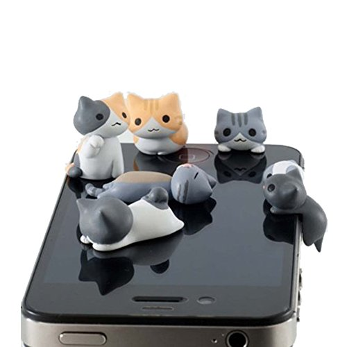 New Wayzon 6pcs Cute Cheese Cat 3.5mm Anti Dust Earphone Jack Audio Interfact Plug Stopper Cap for iPhone, Samsung, HTC, More Phones and Tablets (Cat Phone Jack compare prices)