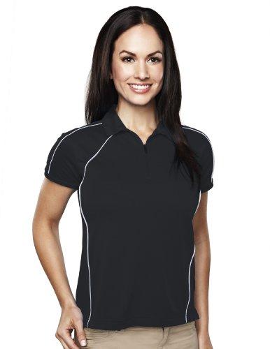 Tri-Mountain Womens 100% Polyester Knit Polo Shirts. 007 - Black/Silver_3Xl