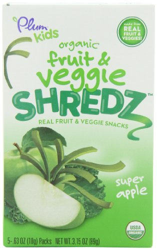 Plum Kids Organic Fruit and Veggie Shredz, Super Apple, 5-Count (Pack of 8)
