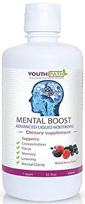 Mental Boost - Advanced Liquid Nootropic - Natural Health Brain Supplement - Enhances Mood, Memory and Mental Energy - Focus & Clarity of Mind, 32 fl. Oz