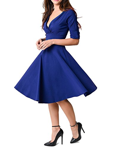 GownTown-Womens-Dresses-V-neck-1950s-Vintage-Dresses-Stretchy-Swing-Dresses