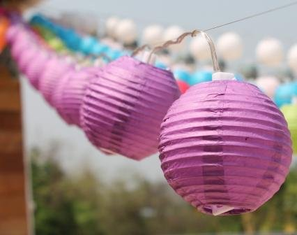 New Solar Powered 20 Led Purple Mini Round Paper Chinese Lantern Fairy Light String