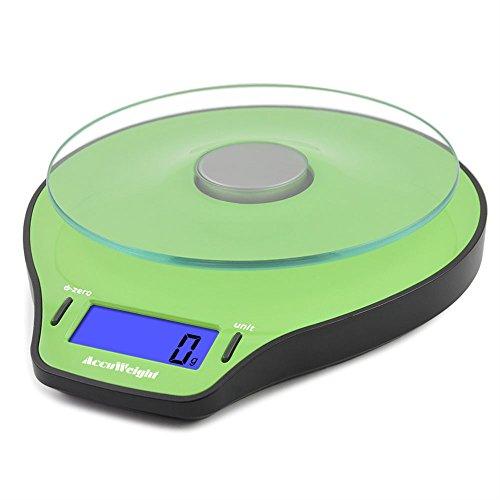 Accuweight Digitale Küchenwaage Briefwaage Küche Scale, Glasplatte, 5kg/11lb, grün