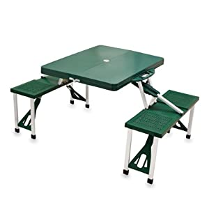 Picnic Time Portable Folding Picnic Table with Seating for 4, Green