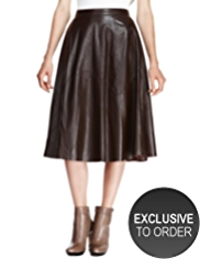 Autograph Leather Panelled Long Skirt