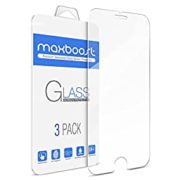 [3Pack] Maxboost iPhone 6S Screen Protector [Tempered Glass 3D Touch Compatible] 0.2mm Ballistic Glass Fit iPhone 6 6S and Most Protective Case - Clear Glass