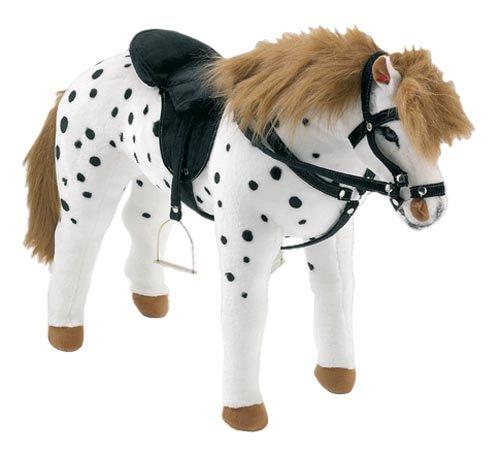 happy-people-58980-peluche-cheval-pommele-debout-avec-selle-et-bride-blanc-noir