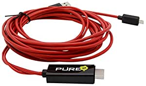 Pure² - 4 Meter flexibles Full HD MHL Adapter Kabel Micro USB auf HDMI 1080p HDTV - 8-Kanal digital Audio 7.1- Adapter wie EIA2UHUN - passend für HTC ONE - Samsung Galaxy Note N7000 / i9220 / Galaxy S2 i9100 / LTE / Samsung S2 Plus I9105P / Galaxy Nexus i9250 / i997 Infuse 4G / HTC Flyer / HTC Evo 3D / HTC ONE S & X / Sony Xperia