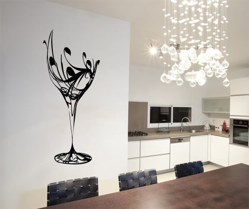 """Colorfulhall 23.6"""" X 40.2"""" Black Abstract Elegant Wine Glass Wall Decal Kitchen Wall Sticker Removable Vinyl Kitchen Decoration front-120632"""
