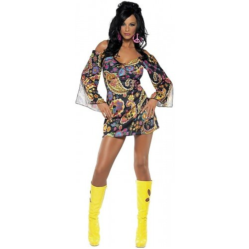 Adult Fever 60s Hippie Fancy Dress Costume