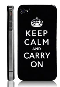 Black Keep Calm and Carry On Hard Back Case/Cover for Apple iPhone 4G/4S UK [Electronics]